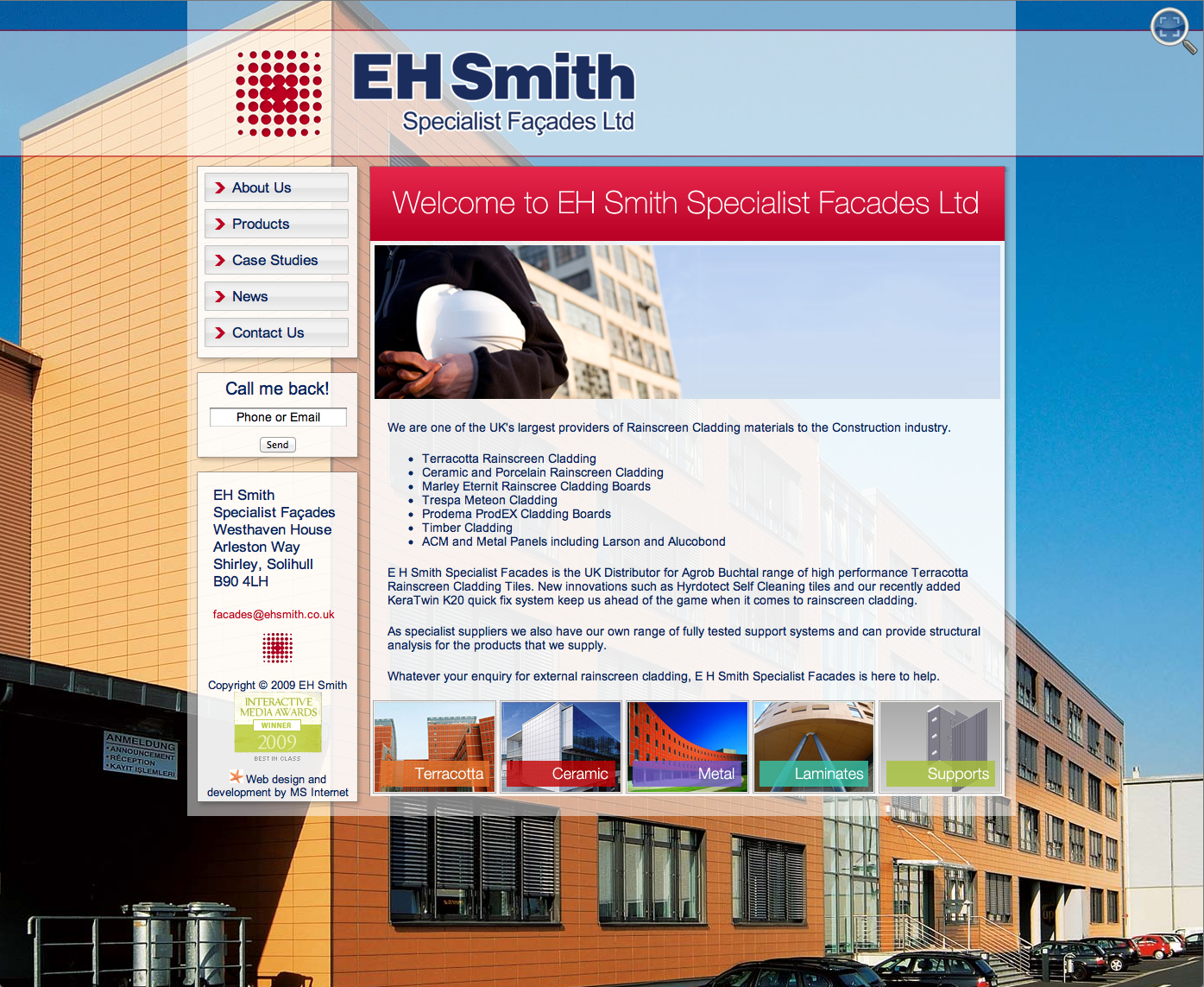 EH Smith Specialist Façades Website